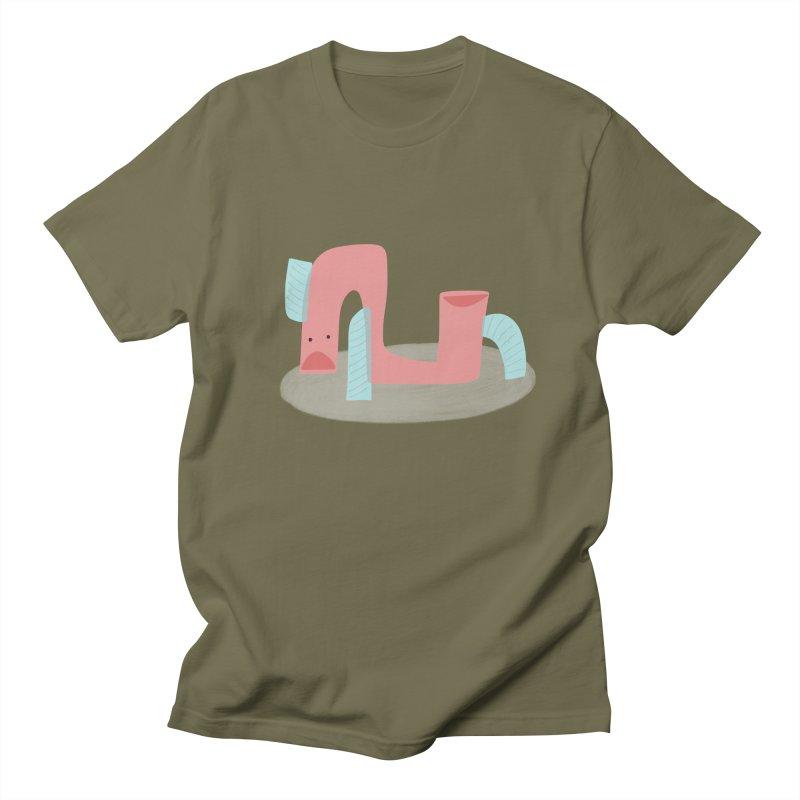 Fish Snake in Men's Regular T-Shirt Olive by Michael Pfleghaar