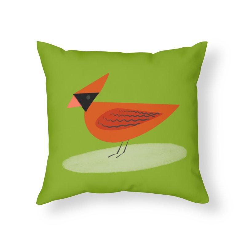 Cardinal in Throw Pillow by Michael Pfleghaar