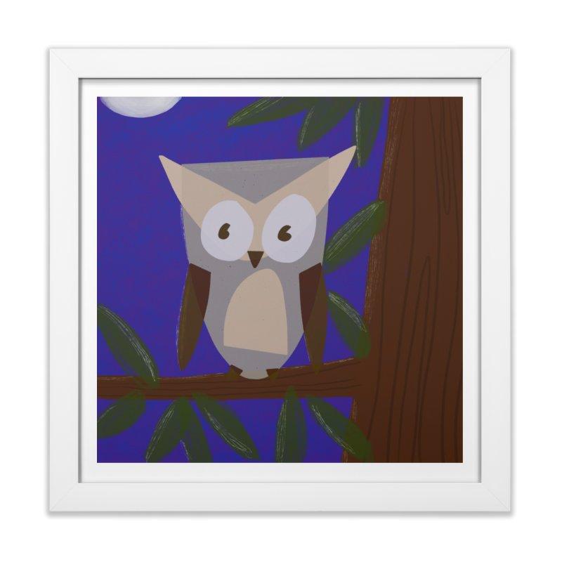 Owl in Framed Fine Art Print White by Michael Pfleghaar