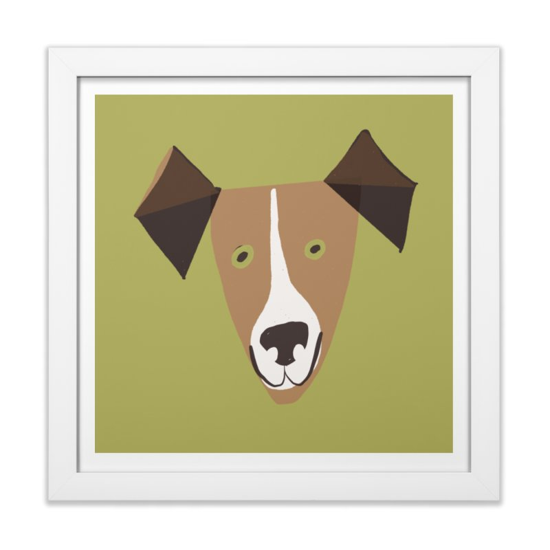 Dog Face 1 in Framed Fine Art Print White by Michael Pfleghaar