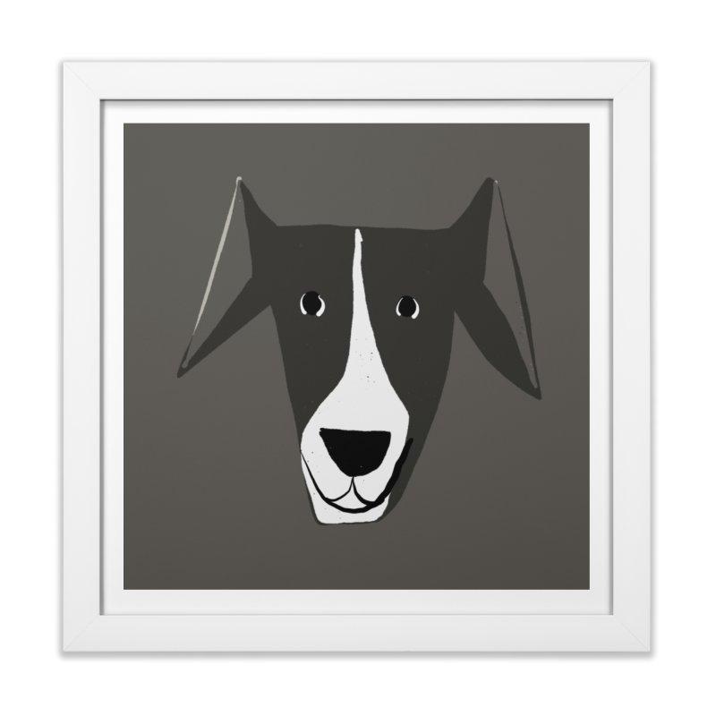 Dog Face 2 in Framed Fine Art Print White by Michael Pfleghaar