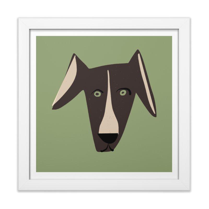 Dog Face 3 in Framed Fine Art Print White by Michael Pfleghaar