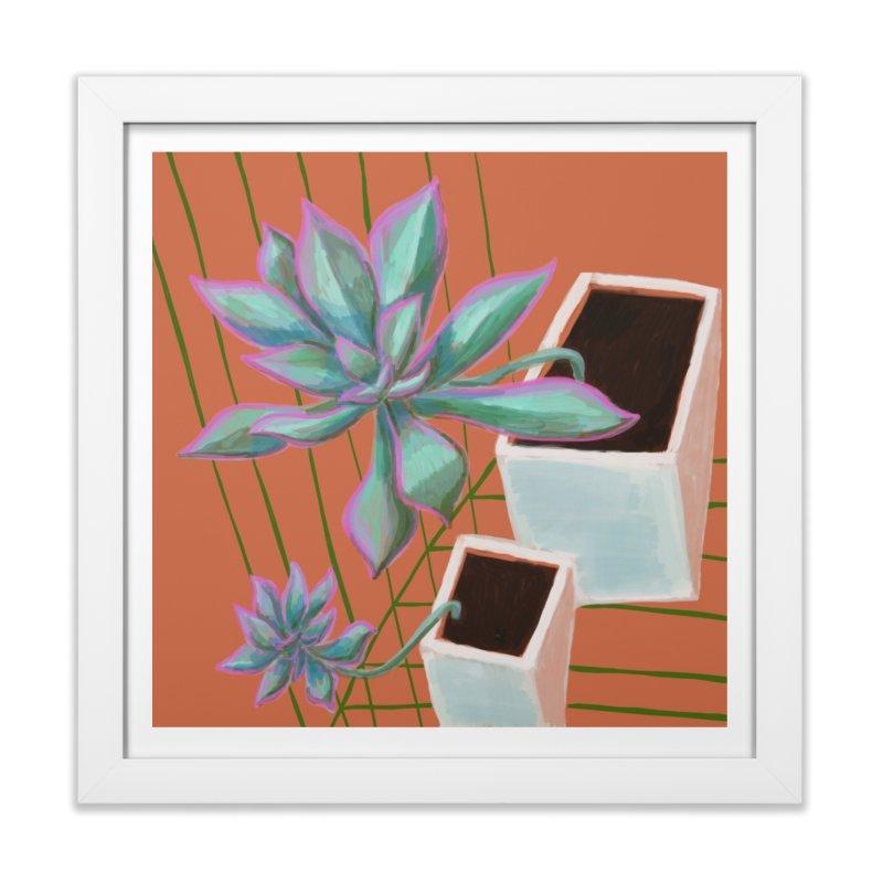 Twin Succulents in Framed Fine Art Print White by Michael Pfleghaar