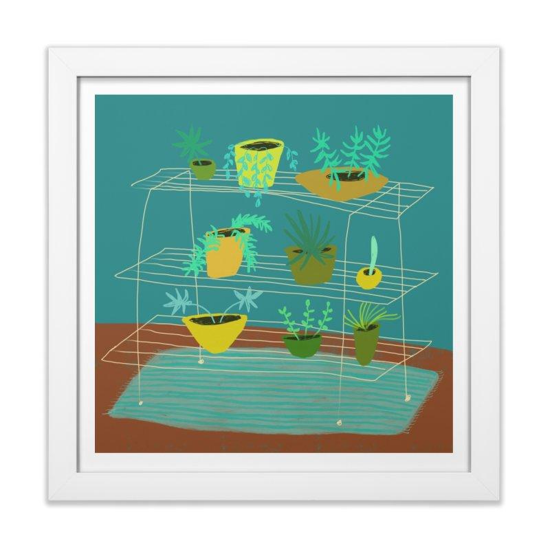 Plant Stand 3 in Framed Fine Art Print White by Michael Pfleghaar