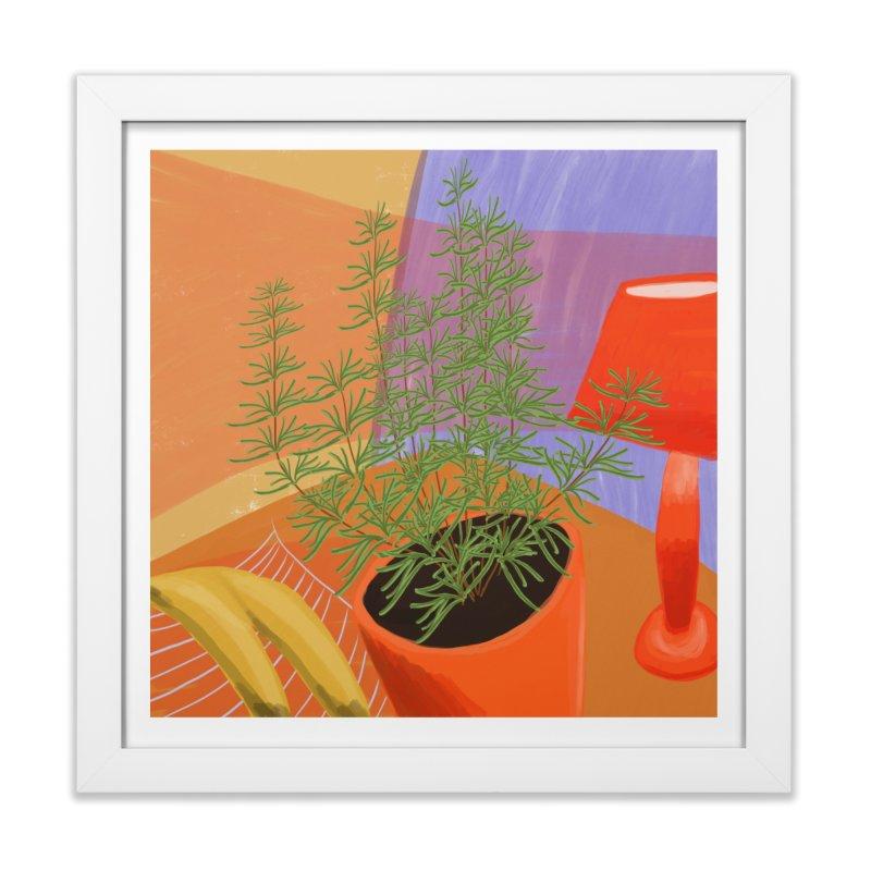 Rosemary with Red Lamp in Framed Fine Art Print White by Michael Pfleghaar