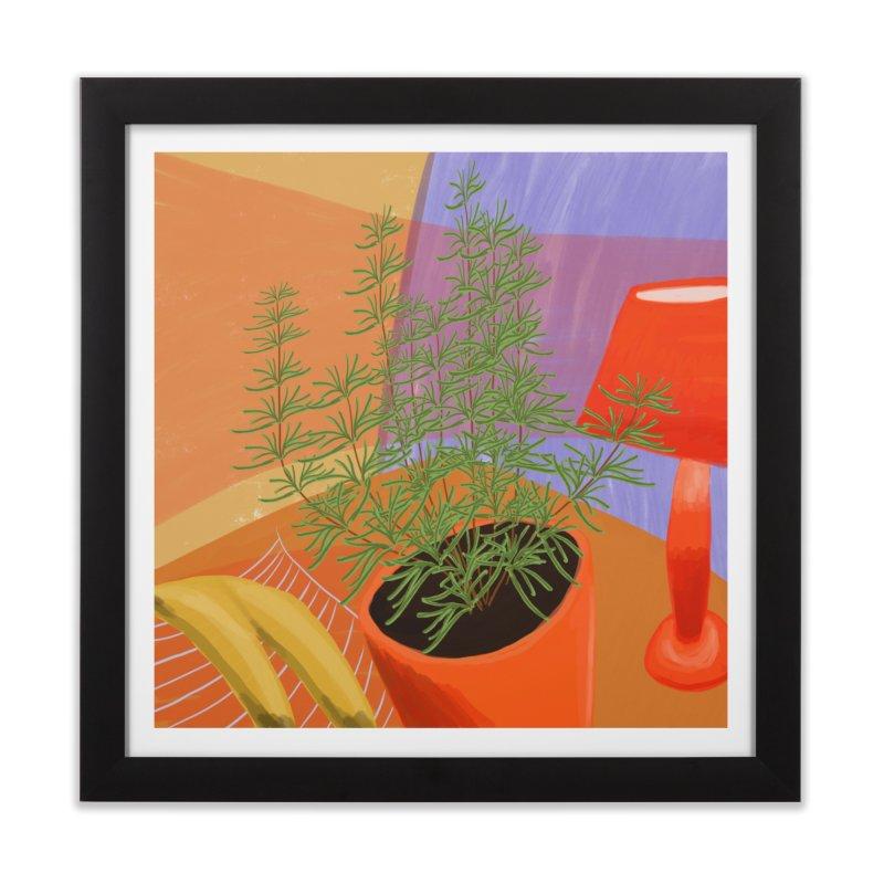 Rosemary with Red Lamp in Framed Fine Art Print Black by Michael Pfleghaar