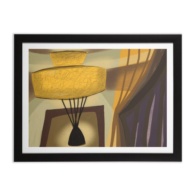 Vintage Lamp Interior in Framed Fine Art Print Black by Michael Pfleghaar