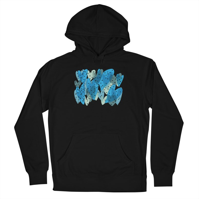 Blue Hearts Women's French Terry Pullover Hoody by Michael Pfleghaar