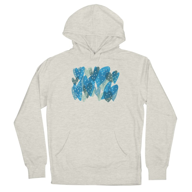 Blue Hearts Men's French Terry Pullover Hoody by Michael Pfleghaar