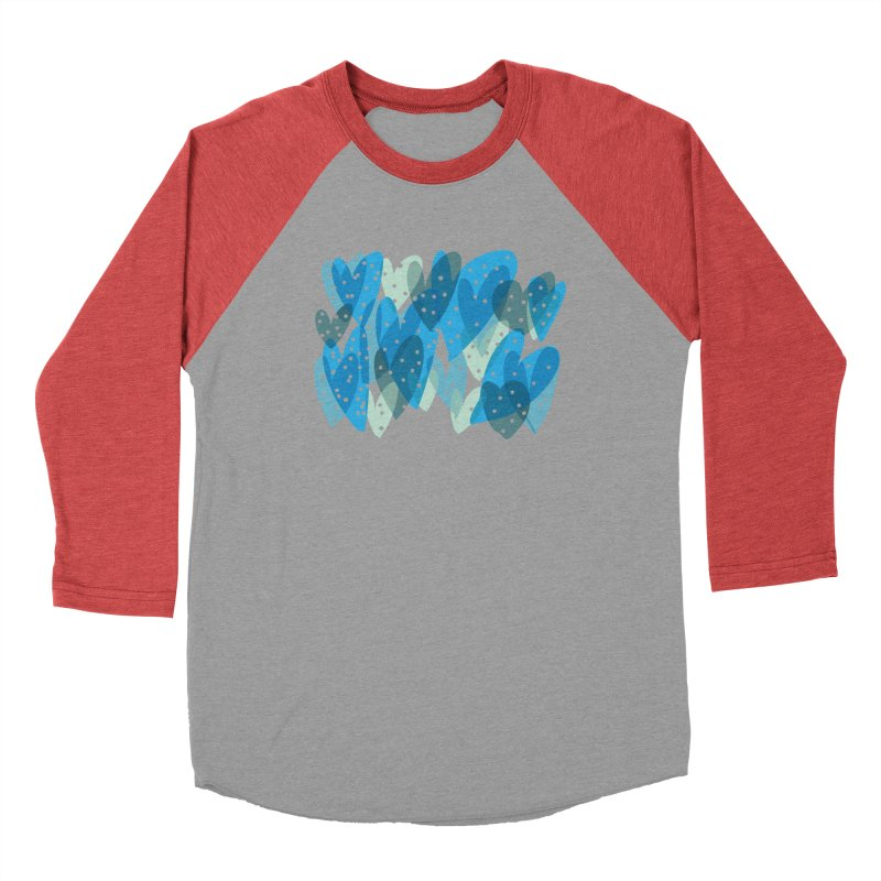 Blue Hearts Women's Baseball Triblend Longsleeve T-Shirt by Michael Pfleghaar