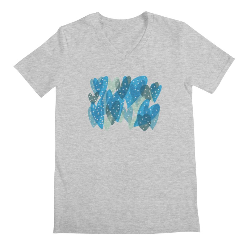 Blue Hearts Men's Regular V-Neck by Michael Pfleghaar