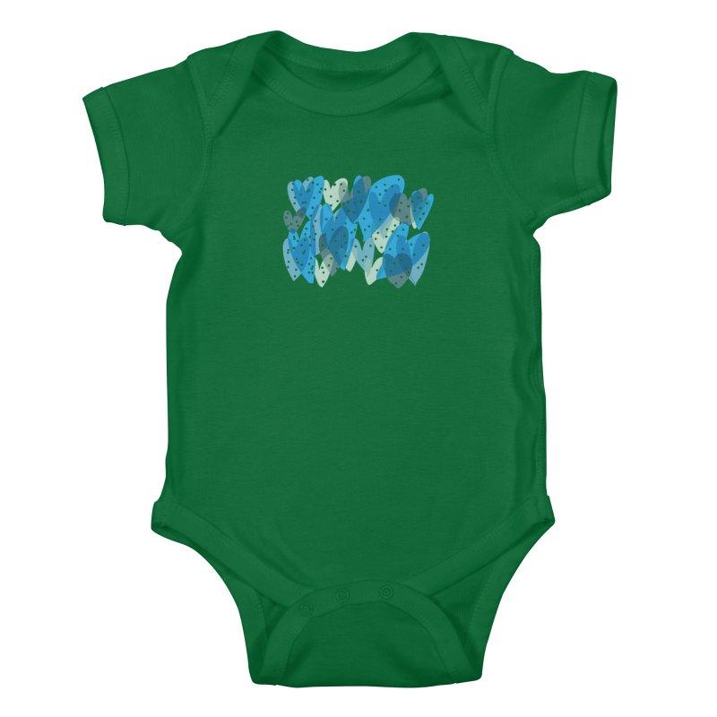 Blue Hearts Kids Baby Bodysuit by Michael Pfleghaar