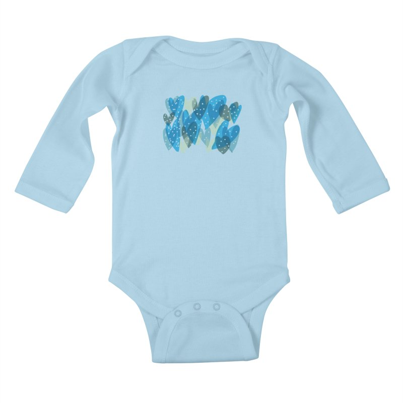 Blue Hearts Kids Baby Longsleeve Bodysuit by Michael Pfleghaar