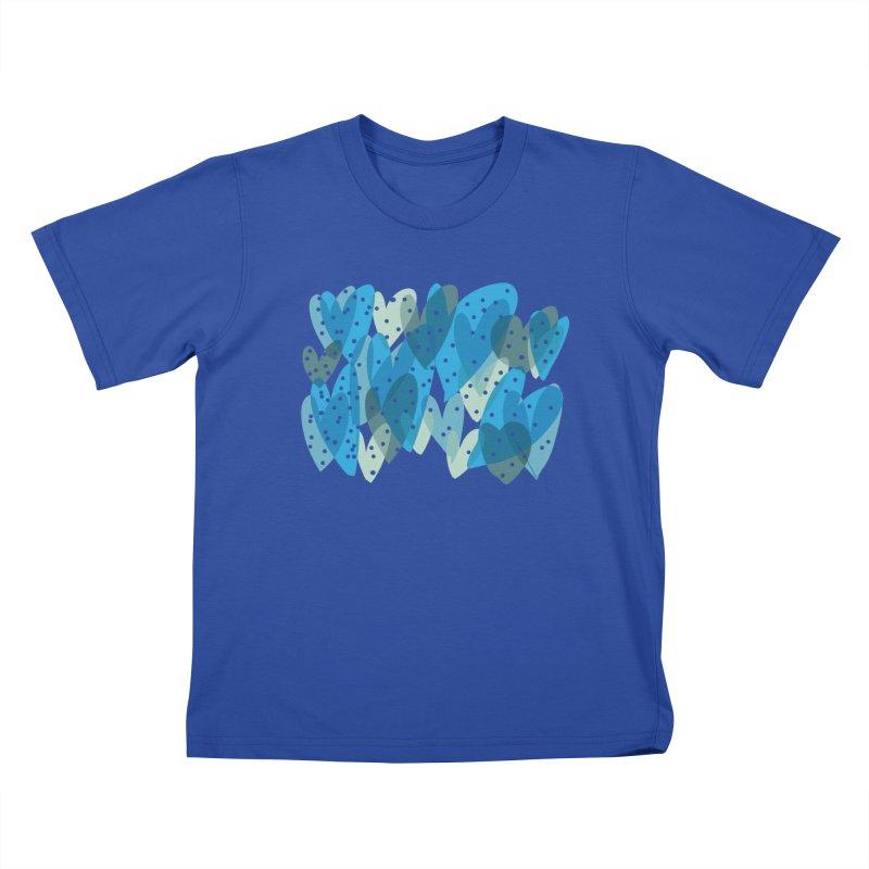 Blue Hearts Kids T-Shirt by Michael Pfleghaar