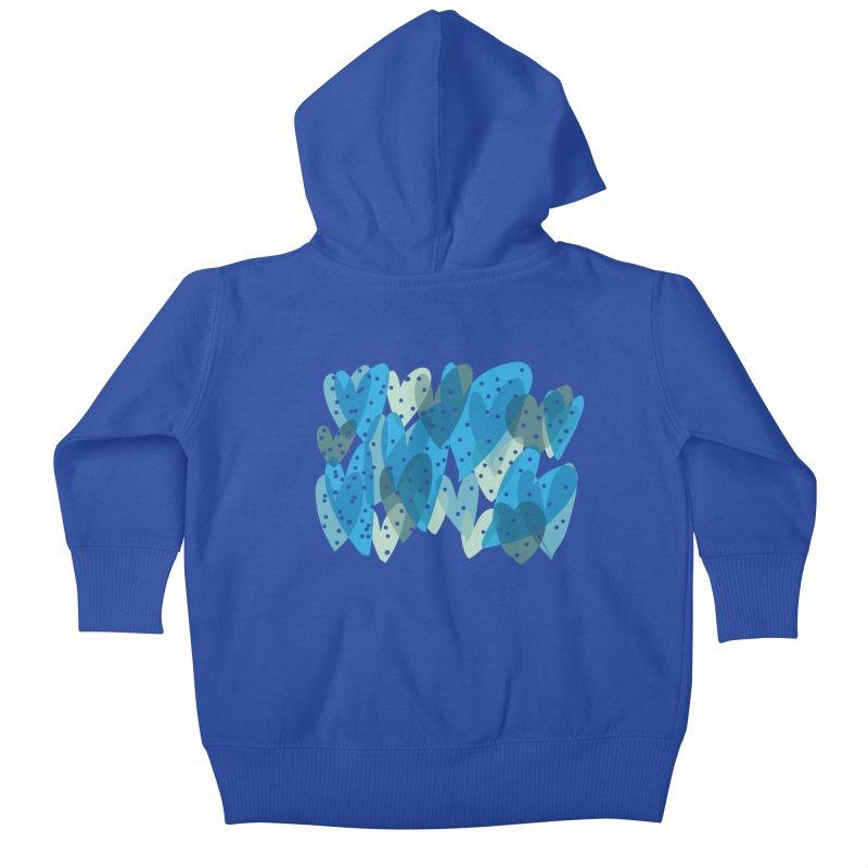 Blue Hearts Kids Baby Zip-Up Hoody by Michael Pfleghaar