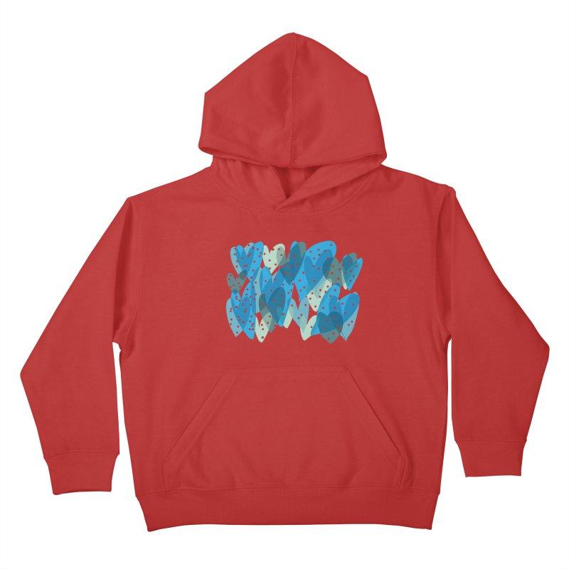 Blue Hearts Kids Pullover Hoody by Michael Pfleghaar