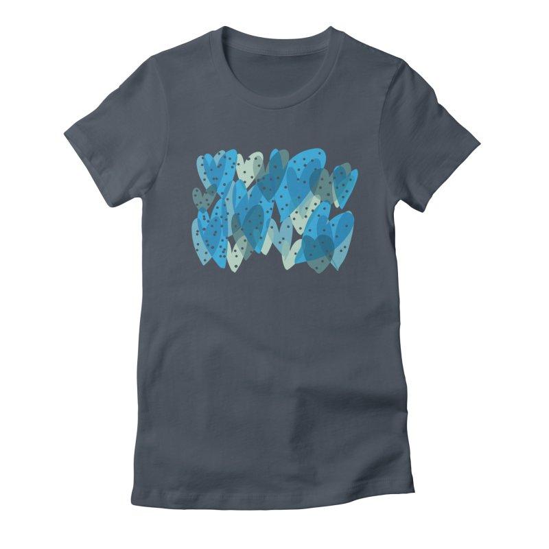 Blue Hearts Women's French Terry Zip-Up Hoody by Michael Pfleghaar