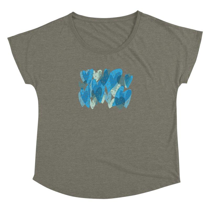 Blue Hearts Women's Dolman Scoop Neck by Michael Pfleghaar