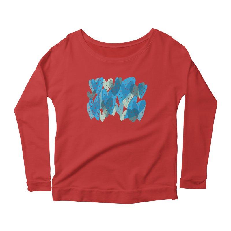 Blue Hearts Women's Longsleeve Scoopneck  by Michael Pfleghaar