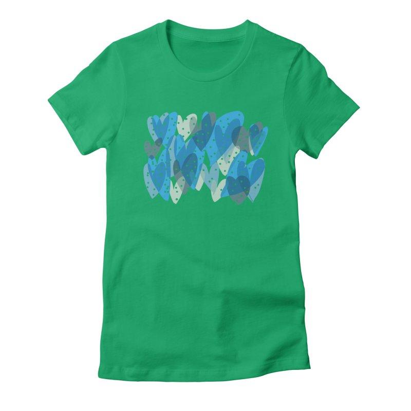 Blue Hearts Women's Fitted T-Shirt by Michael Pfleghaar