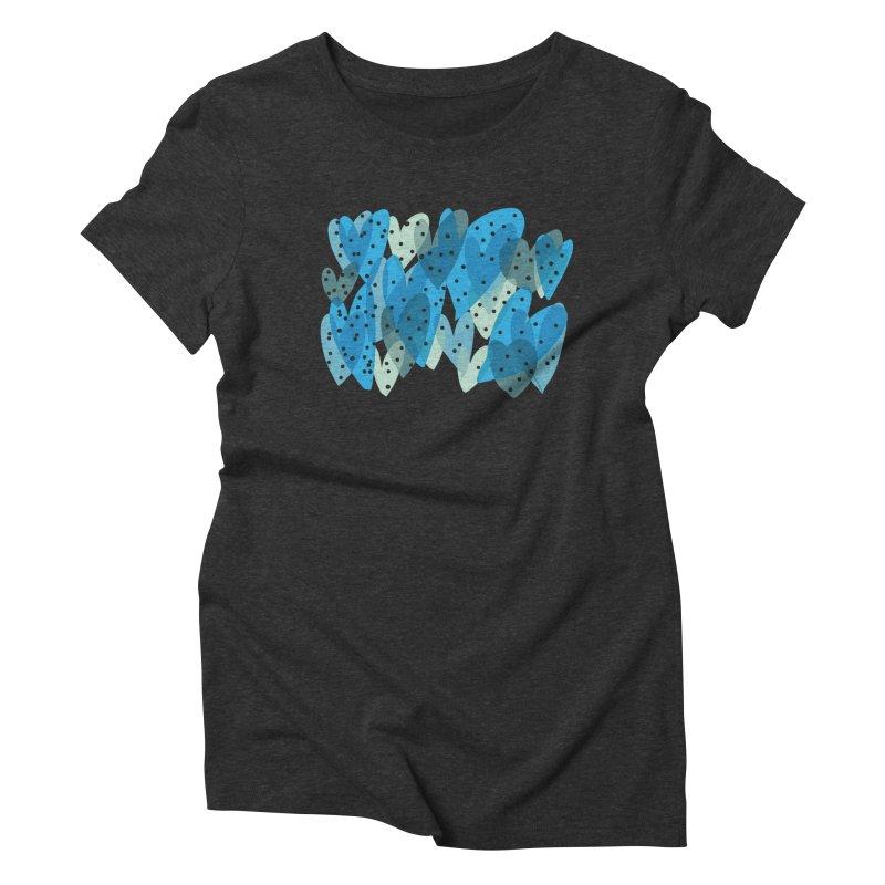 Blue Hearts Women's Triblend T-Shirt by Michael Pfleghaar