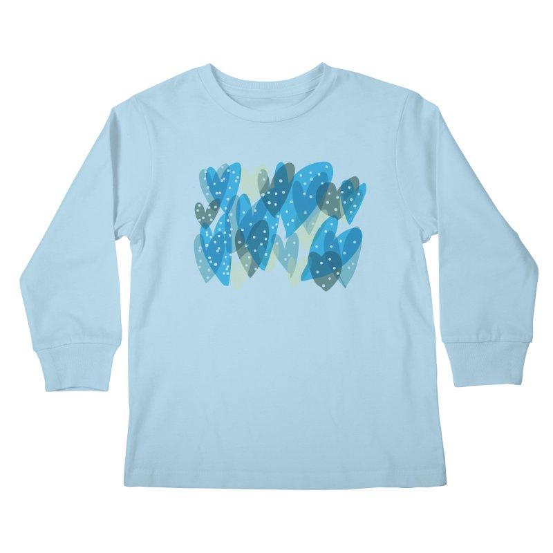 Blue Hearts Kids Longsleeve T-Shirt by Michael Pfleghaar
