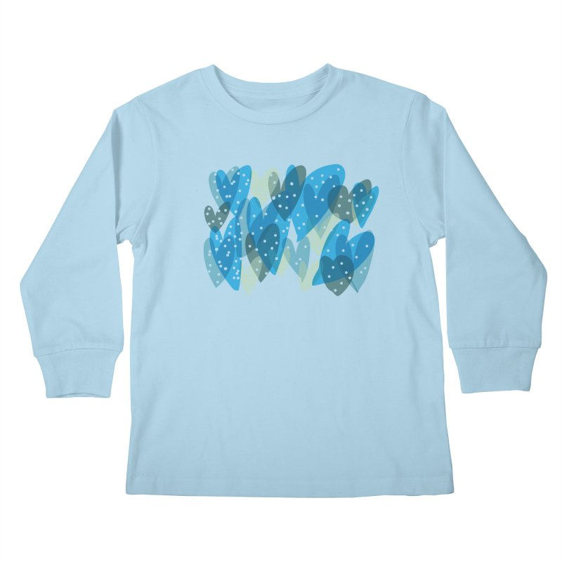 Blue Hearts Kids Longsleeve T-Shirt by Michael Pfleghaar