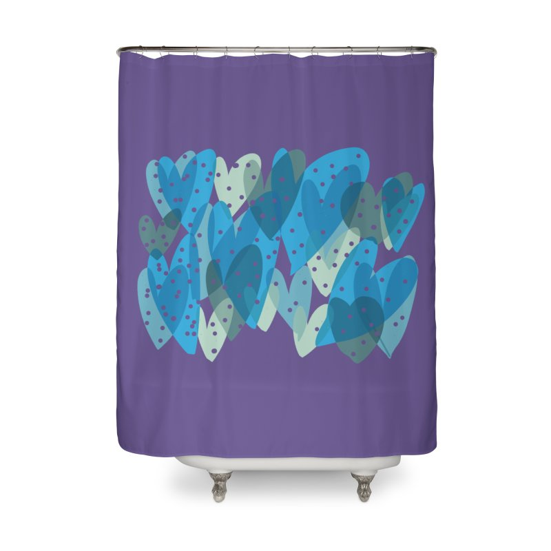 Blue Hearts Home Shower Curtain by Michael Pfleghaar