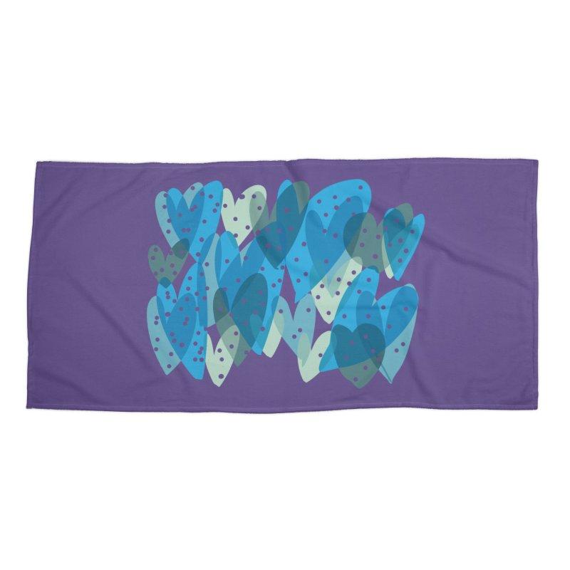 Blue Hearts Accessories Beach Towel by Michael Pfleghaar