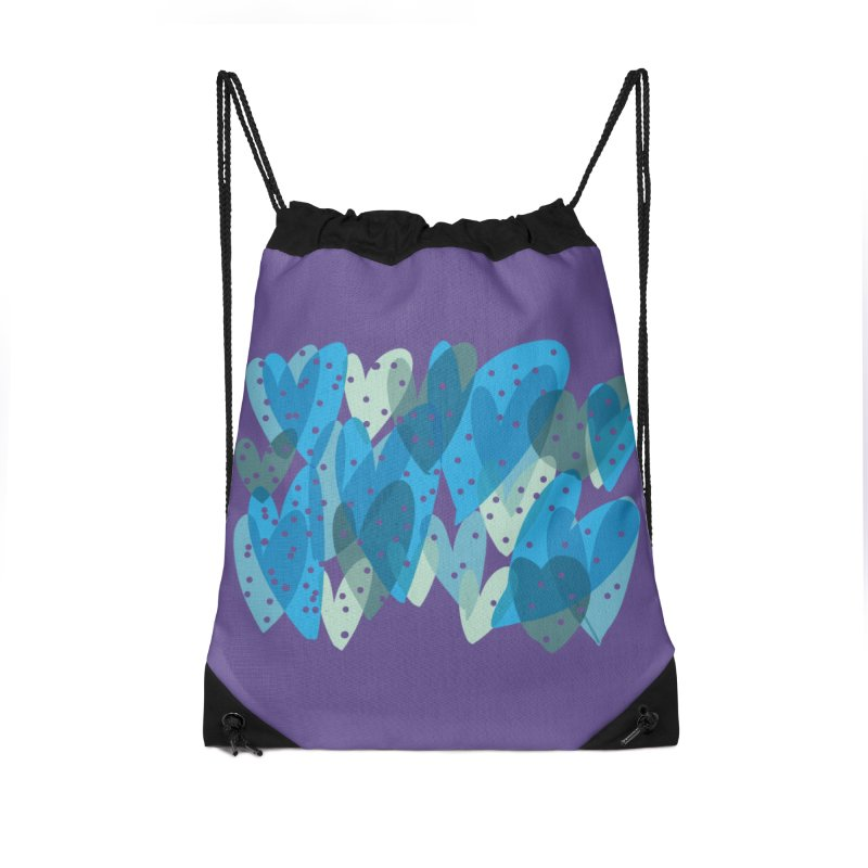 Blue Hearts Accessories Drawstring Bag Bag by Michael Pfleghaar