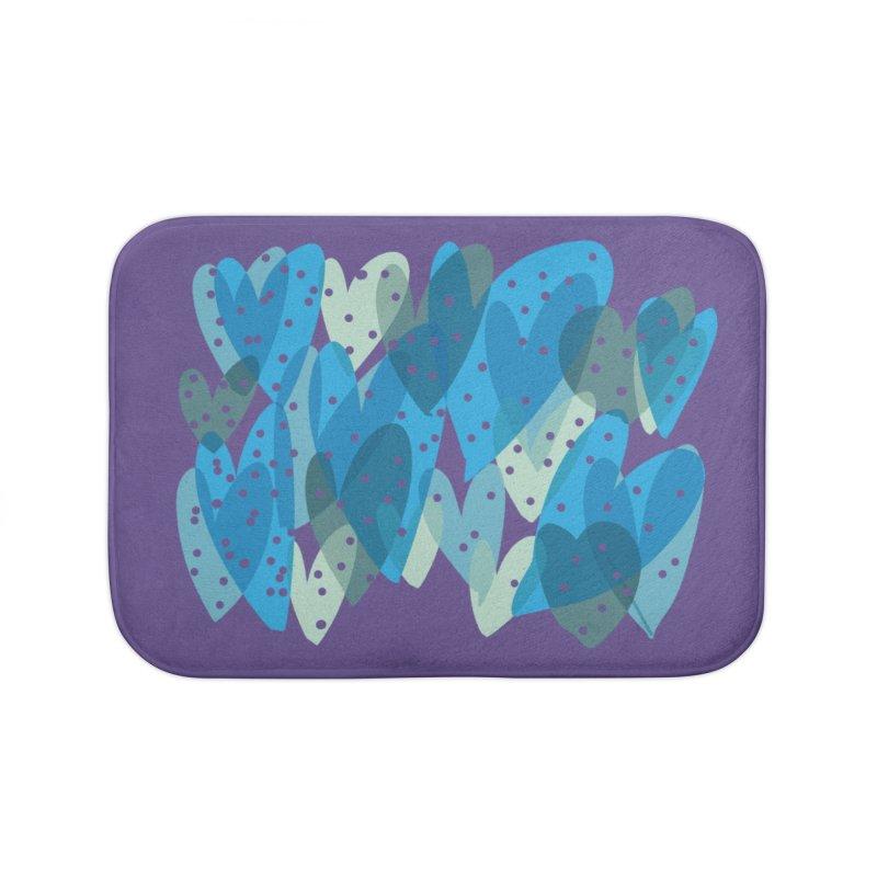 Blue Hearts Home Bath Mat by Michael Pfleghaar