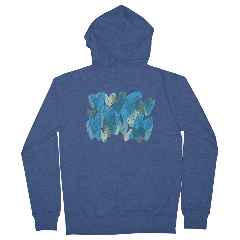 Blue Hearts Men's French Terry Zip-Up Hoody by Michael Pfleghaar
