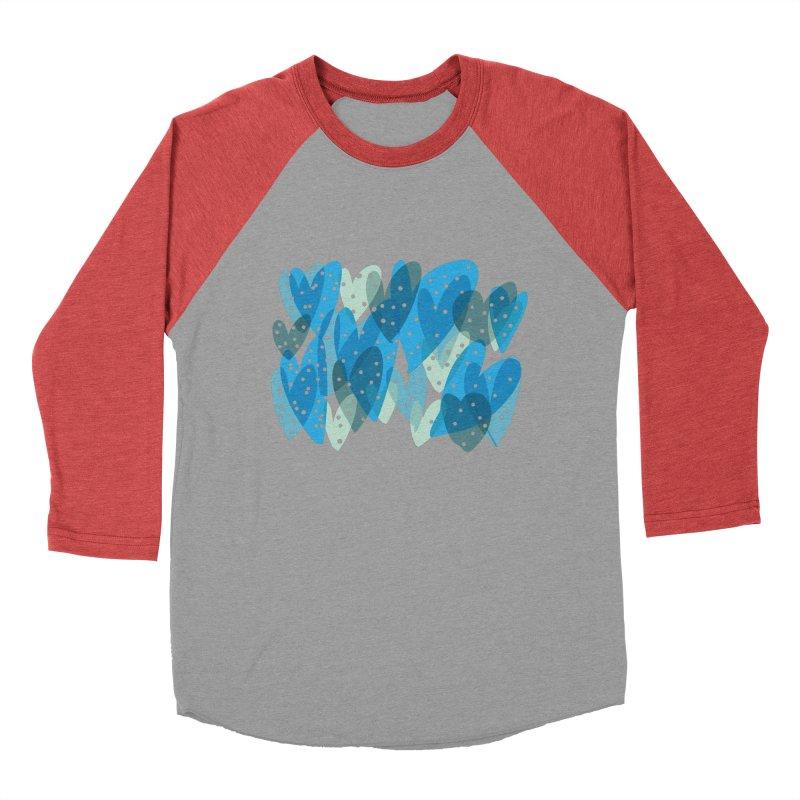 Blue Hearts Women's Baseball Triblend Longsleeve T-Shirt by Michael Pfleghaar
