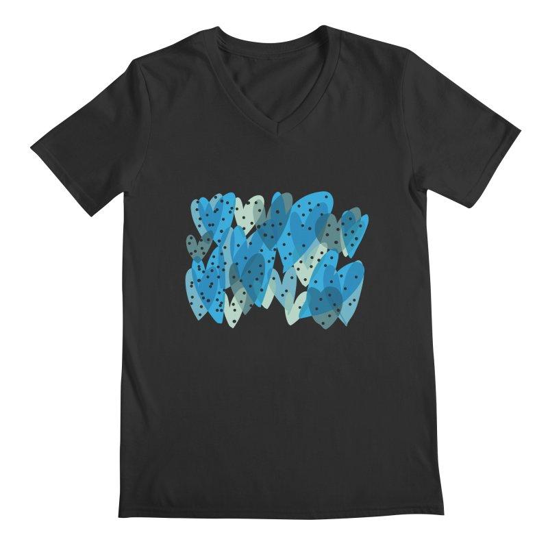 Blue Hearts Men's Regular V-Neck by Michael Pfleghaar