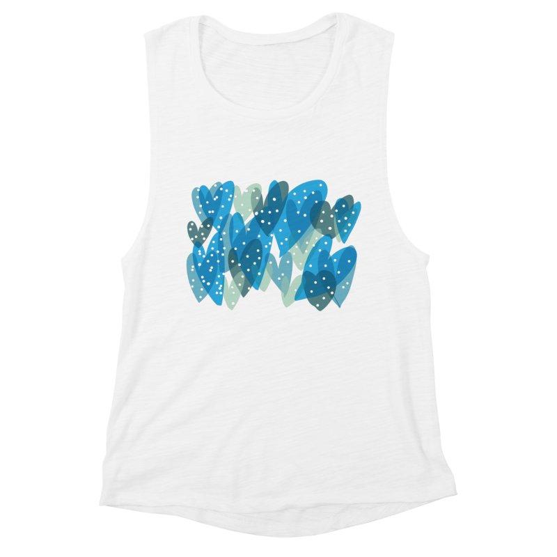 Blue Hearts Women's Muscle Tank by Michael Pfleghaar