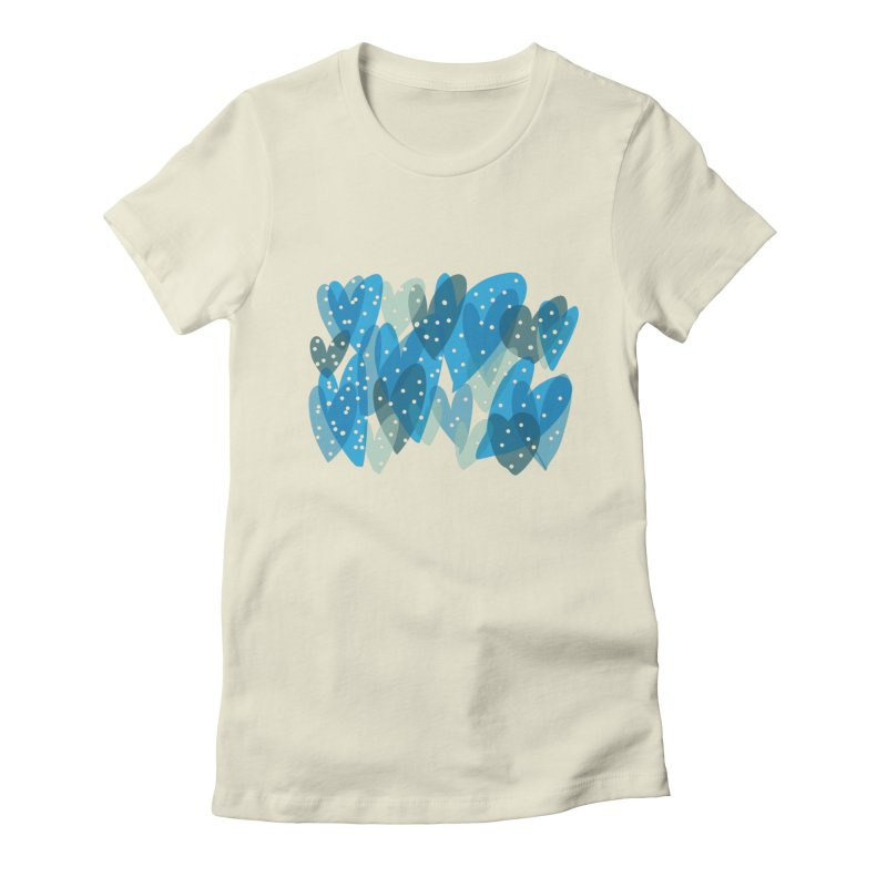 Blue Hearts Women's Fitted T-Shirt by Michael Pfleghaar