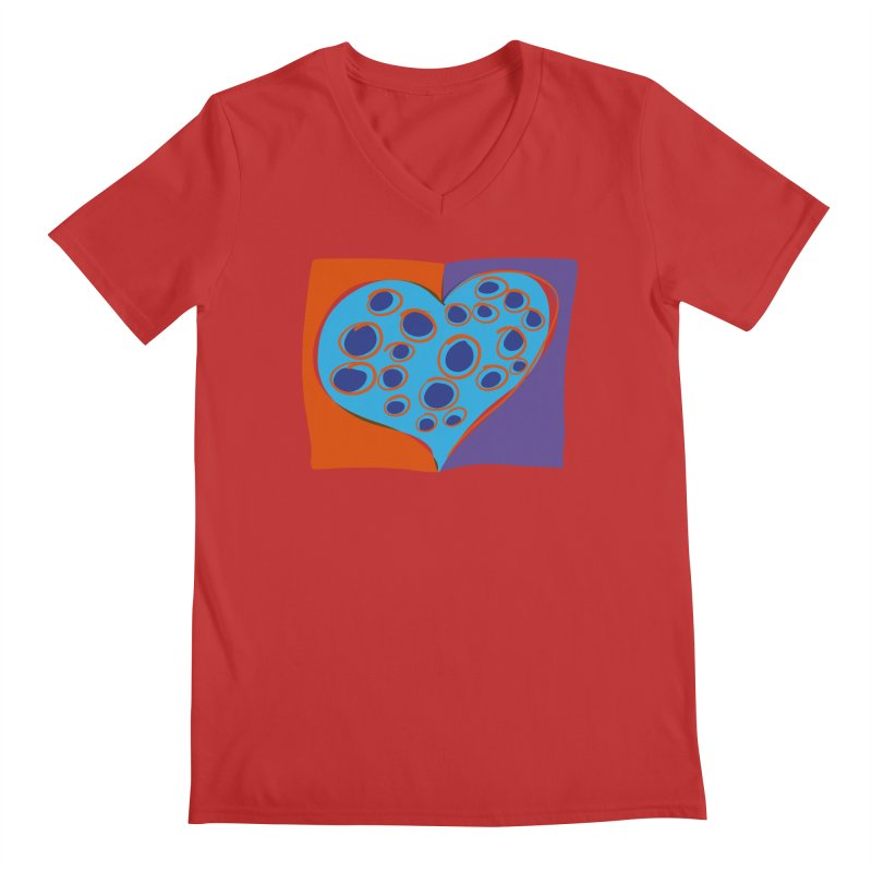 Spotted Heart Men's Regular V-Neck by Michael Pfleghaar