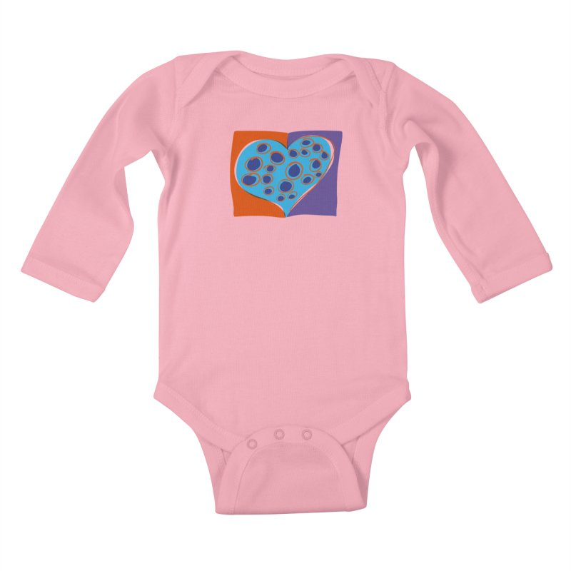 Spotted Heart Kids Baby Longsleeve Bodysuit by Michael Pfleghaar