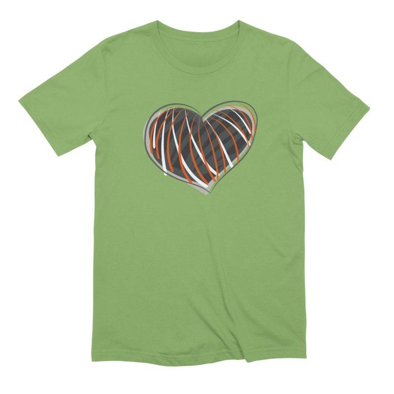 Striped Heart Men's Extra Soft T-Shirt by Michael Pfleghaar