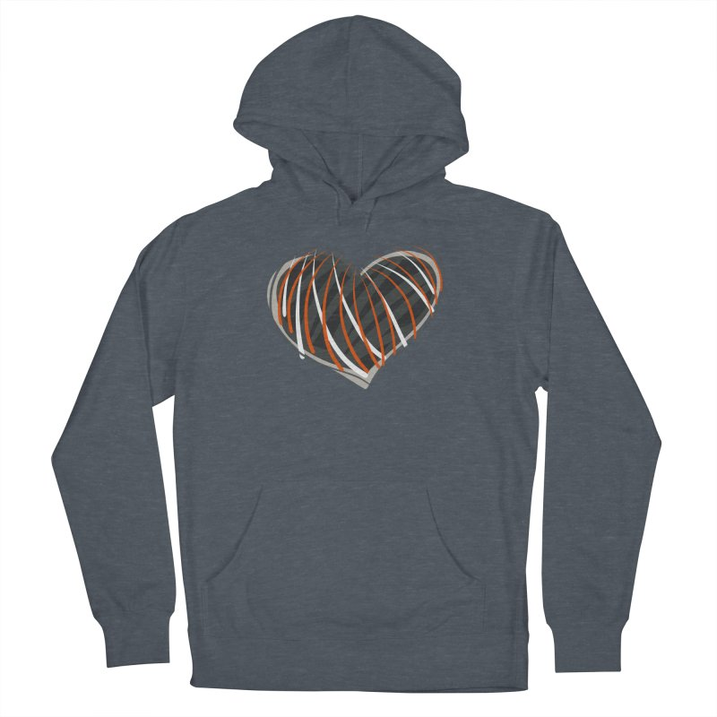 Striped Heart Women's French Terry Pullover Hoody by Michael Pfleghaar