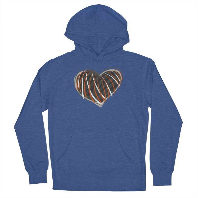 Striped Heart Men's French Terry Pullover Hoody by Michael Pfleghaar