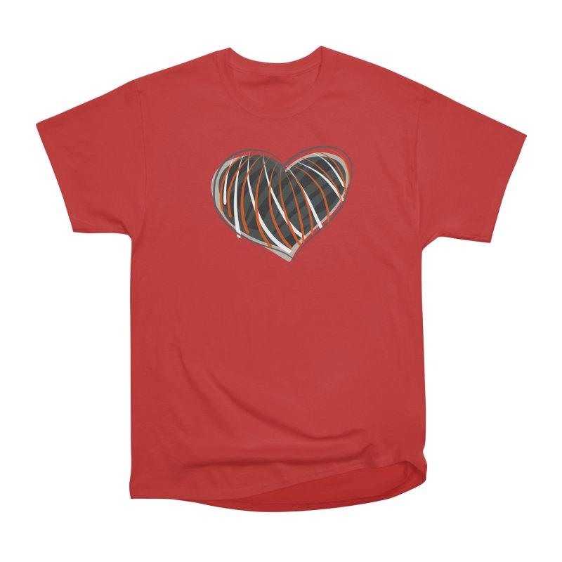 Striped Heart Men's Heavyweight T-Shirt by Michael Pfleghaar