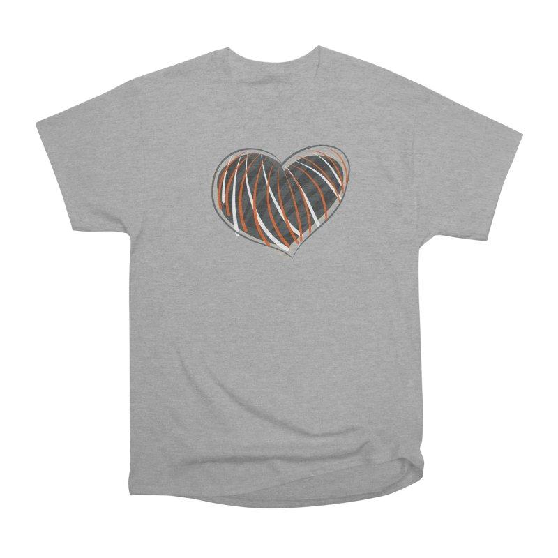 Striped Heart Women's Heavyweight Unisex T-Shirt by Michael Pfleghaar
