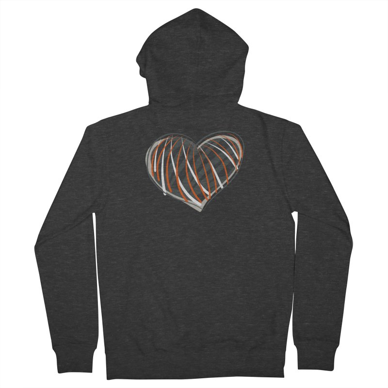 Striped Heart Men's French Terry Zip-Up Hoody by Michael Pfleghaar