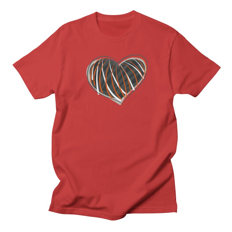 Striped Heart Women's Regular Unisex T-Shirt by Michael Pfleghaar