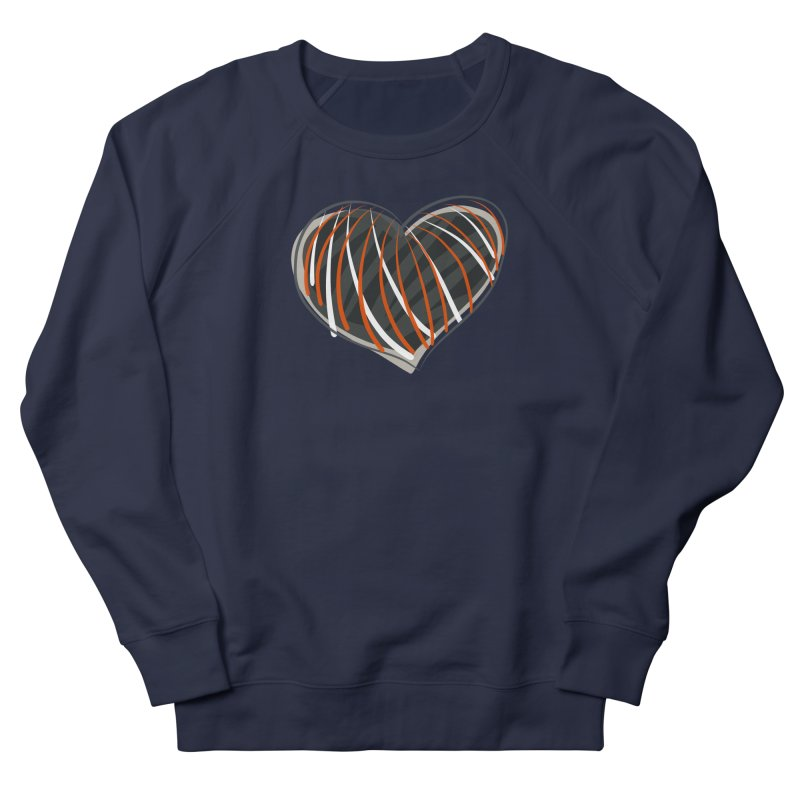 Striped Heart Women's French Terry Sweatshirt by Michael Pfleghaar