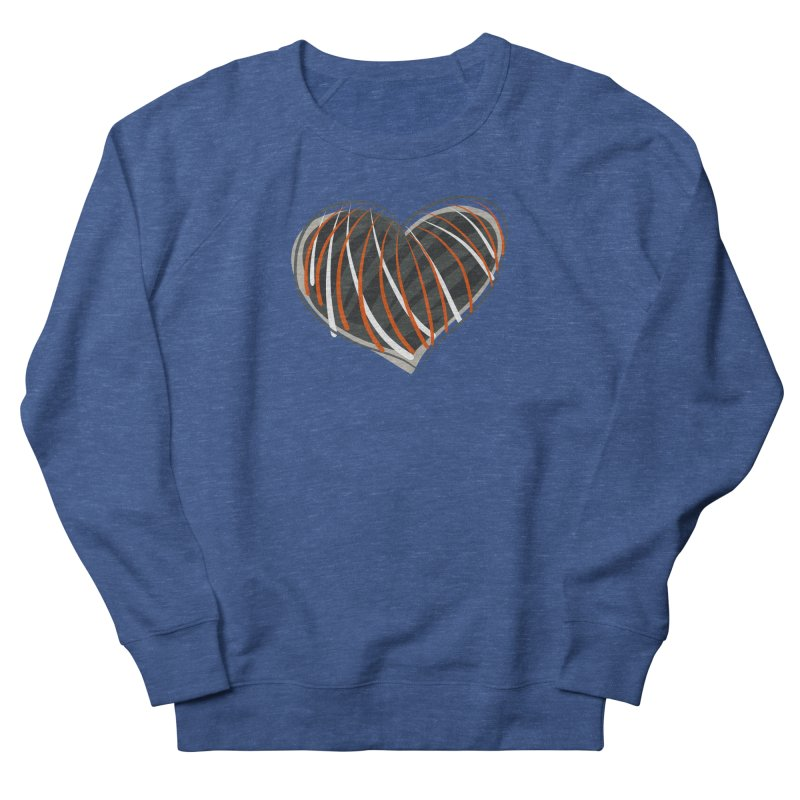 Striped Heart Men's French Terry Sweatshirt by Michael Pfleghaar