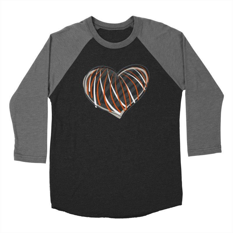 Striped Heart Women's Baseball Triblend Longsleeve T-Shirt by Michael Pfleghaar