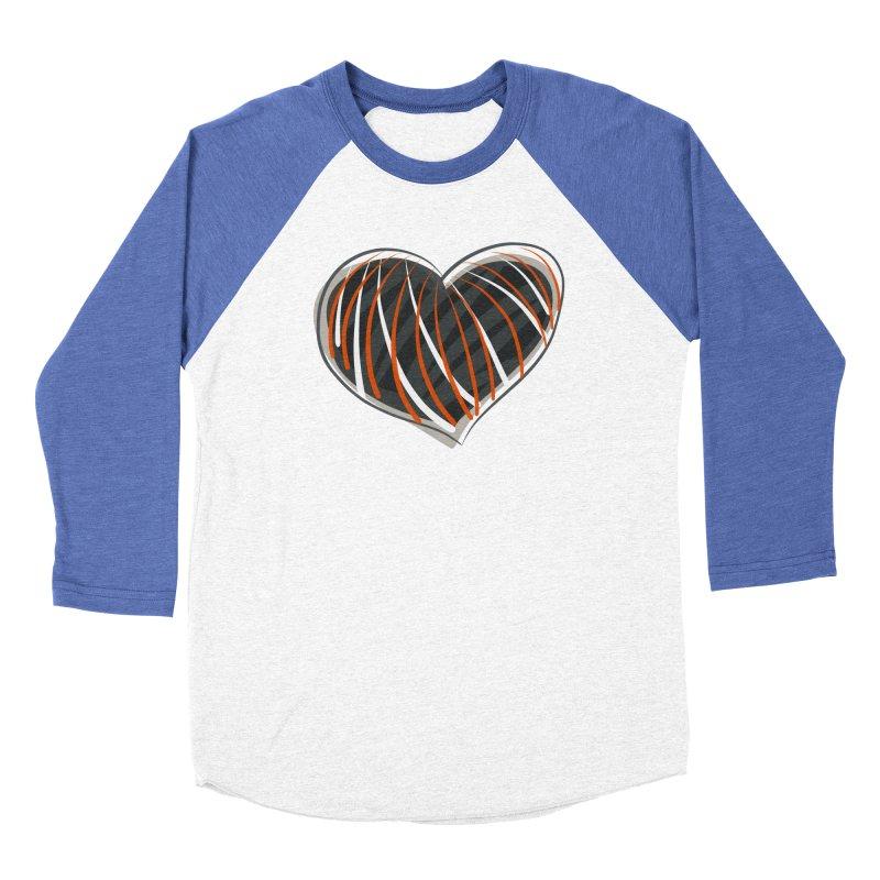 Striped Heart Men's Baseball Triblend Longsleeve T-Shirt by Michael Pfleghaar