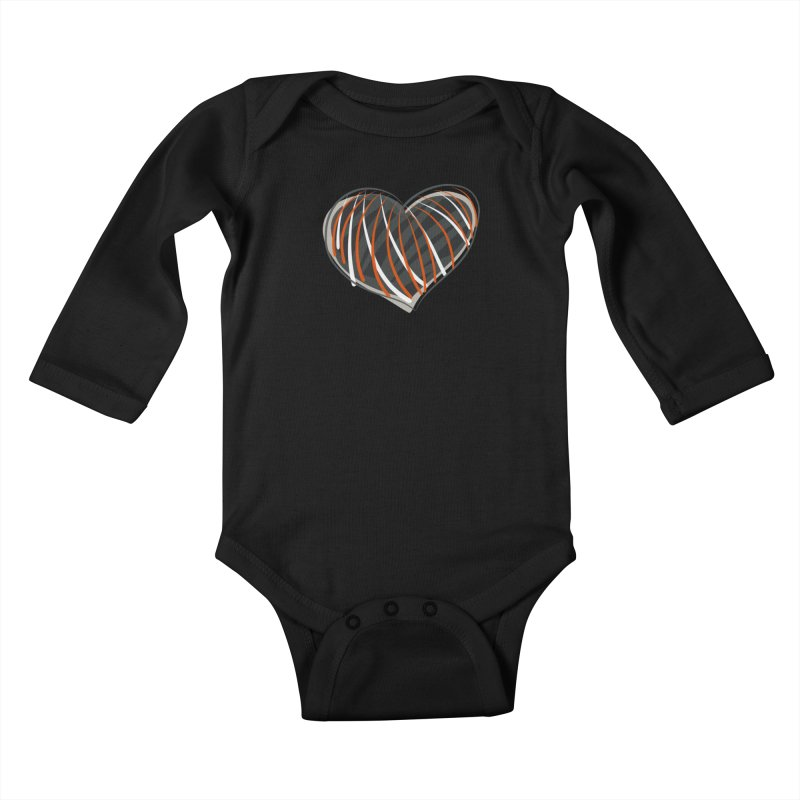 Striped Heart Kids Baby Longsleeve Bodysuit by Michael Pfleghaar